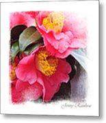 Pink Camellia. Elegant Knickknacks Metal Print by Jenny Rainbow