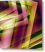 Pink Yellow And Green Geometry Metal Print by Mario Perez