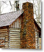 Pioneer Log Cabin Chimney Metal Print by Kathy  White