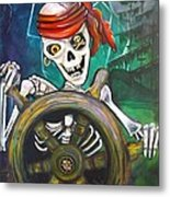 Pirate Moon Metal Print by Laura Barbosa