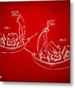 Pirate Ship Patent Artwork - Red Metal Print by Nikki Marie Smith