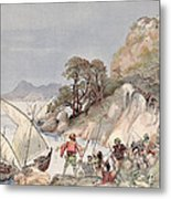 Pirates From The Barbary Coast Capturin Gslaves On The Mediterranean Coast Metal Print by Albert Robida