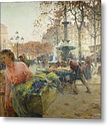 Place Du Theatre Francais Paris Metal Print by Eugene Galien-Laloue