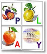 Play Art Alphabet For Kids Room Metal Print by Irina Sztukowski