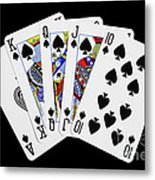 Playing Cards Royal Flush On Black Background Metal Print by Natalie Kinnear