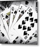 Playing Cards Royal Flush With Digital Border And Effects Metal Print by Natalie Kinnear