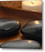 Polished Stones In A Spa Metal Print by Olivier Le Queinec