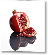 Pomegranate Opened Up On Reflective Surface Metal Print by Johan Swanepoel