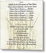 Pope Francis St. Francis Simple Prayer Lilly Of The Valley Metal Print by Desiderata Gallery