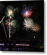 Pops On The River Fireworks Metal Print by Robert Camp