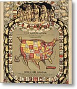 Pork Map Of The United States From 1876 Metal Print by Blue Monocle