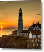 Portland Head Light At Sunrise II Metal Print by Clarence Holmes