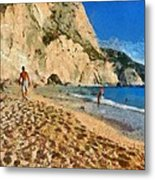 Porto Katsiki Beach In Lefkada Island Metal Print by George Atsametakis