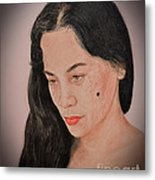 Portrait Of A Long Haired Filipina Beautfy With A Mole On Her Cheek Fade To Black Version Metal Print by Jim Fitzpatrick