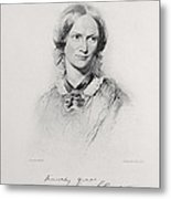 Portrait Of Charlotte Bronte, Engraved Metal Print by George Richmond