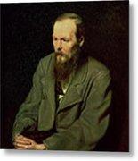 Portrait Of Fyodor Dostoyevsky Metal Print by Vasili Grigorevich Perov
