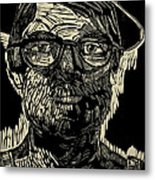Portrait Of The Artist In A Fedora Final Stage Metal Print by Charlie Spear