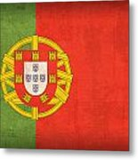 Portugal Flag Vintage Distressed Finish Metal Print by Design Turnpike