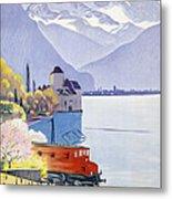 Poster Advertising Rail Travel Around Lake Geneva Metal Print by Emil Cardinaux