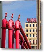 Potsdamer Platz Pink Pipes In Berlin Metal Print by Ben and Raisa Gertsberg