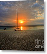 powder-white sand of Seven Mile Beach Metal Print by Dan Friend