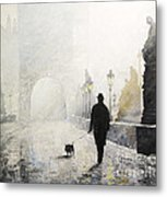 Prague Charles Bridge Morning Walk 01 Metal Print by Yuriy Shevchuk