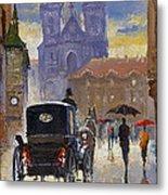 Prague Old Town Square Old Cab Metal Print by Yuriy  Shevchuk
