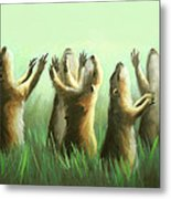 Praising Prairie Dogs Metal Print by Anthony Falbo