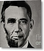 President Obama Meets President Lincoln Metal Print by Doc Braham