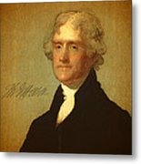 President Thomas Jefferson Portrait And Signature Metal Print by Design Turnpike