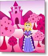 Princess And Pink Castle Landscape Metal Print by Sylvie Bouchard