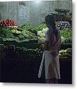 Produce Shop And The Owner Metal Print by Scott Lenhart