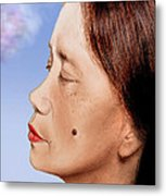 Profile Of A Filipina Beauty With A Mole On Her Cheek Altered Version Metal Print by Jim Fitzpatrick