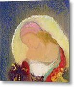 Profile Of A Girl With Flowers Metal Print by Odilon Redon