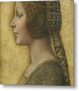 Profile Of A Young Fiancee Metal Print by Leonardo Da Vinci