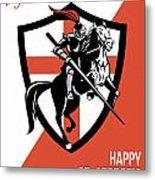 Proud To Be English Happy St George Day Retro Poster Metal Print by Aloysius Patrimonio