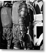 Psni Officer In Riot Gear With Shield And Baton On Crumlin Road At Ardoyne Shops Belfast 12th July Metal Print by Joe Fox
