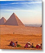 Pyramids And Camels Metal Print by Matthew Bamberg