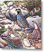 Quail Family Metal Print by Nadi Spencer
