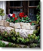 Quaint Stone Planter Metal Print by Lainie Wrightson