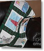 Quilt Newfoundland Tartan Green Posts Metal Print by Barbara Griffin