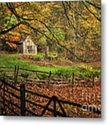 Quintessential Rustic Shack- A New England Autumn Scenic Metal Print by Thomas Schoeller