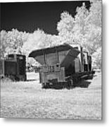 railcars in infrared light in the forest in Netherlands Metal Print by Ronald Jansen