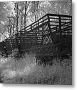 Rails And Trains Of A Locomotive In Infrared Light In Netherlands Metal Print by Ronald Jansen