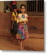 Rainbow Dress. Indian Collection Metal Print by Jenny Rainbow