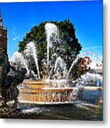 Rainbow In The Jc Nichols Memorial Fountain Metal Print by Andee Design