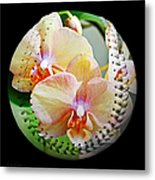 Rainbow Orchids Baseball Square Metal Print by Andee Design