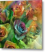 Rainbow Roses Metal Print by Carol Cavalaris