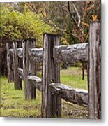 Raindrops On Rustic Wood Fence Metal Print by Michelle Wrighton