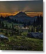 Rainier Sunset Basin Metal Print by Mike Reid